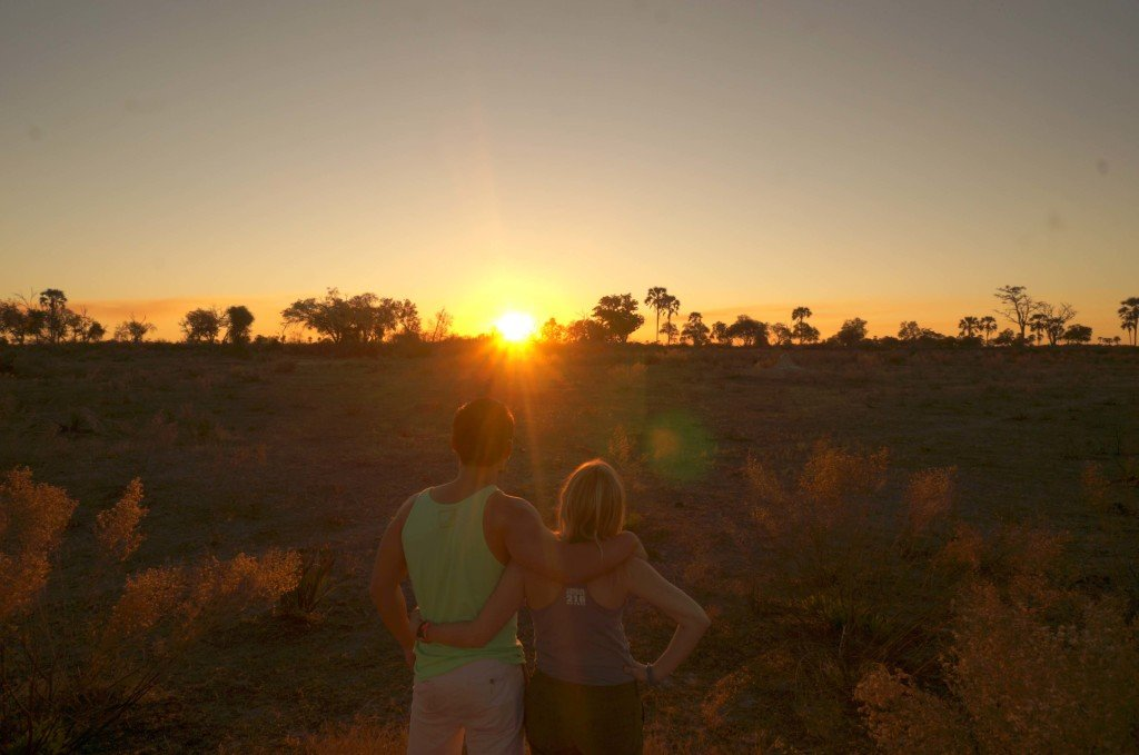 Enjoying a beautifu African sunset after our game walk.