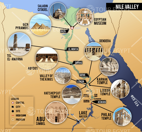 Very good map detailing Egypt's main sights along the Nile.