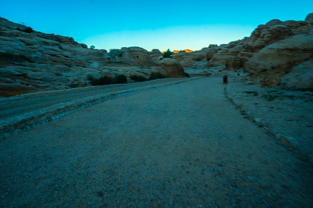 Walking towards the Siq in the very early morning.