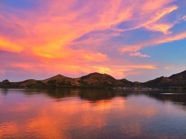 Komodo national park sunrise and sunset