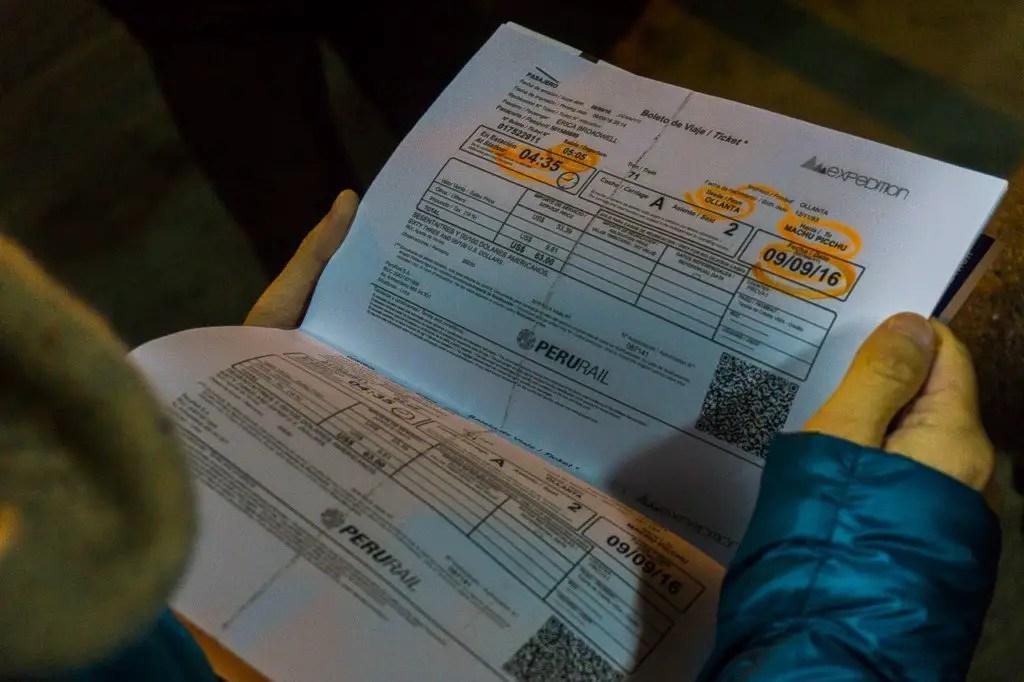 Train ticket perurail