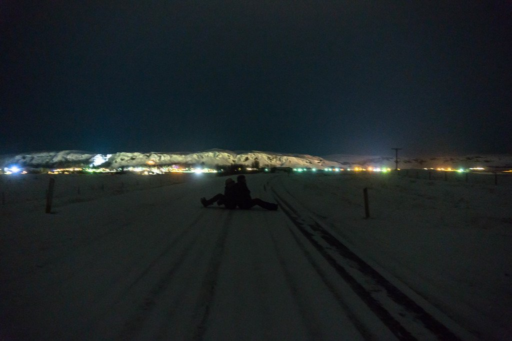Iceland at night time on the ring road