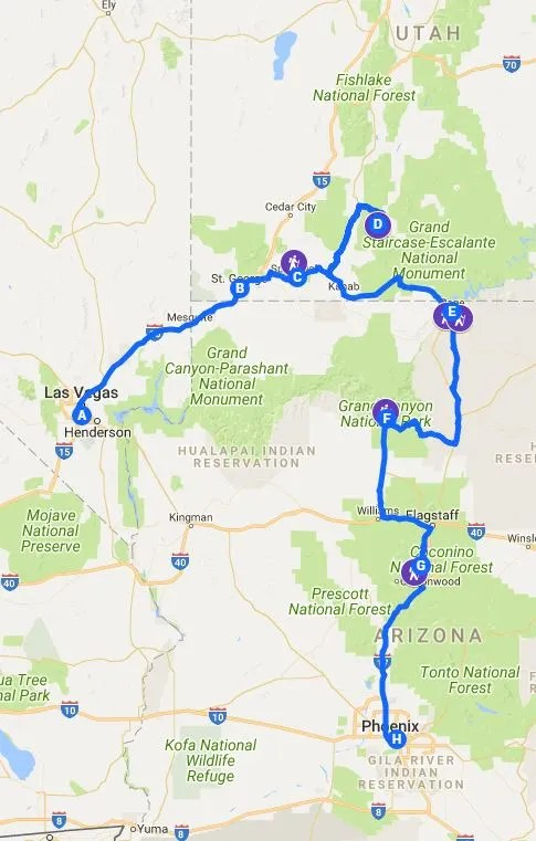southwest zion bryce grand canyon itinerary map antelope canyon