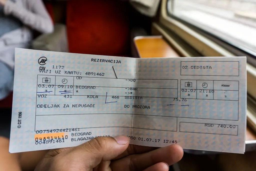 train ticket serbia to montenegro