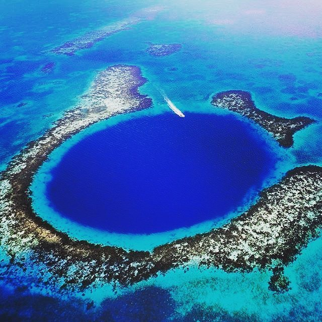Blue hole aerial view belize