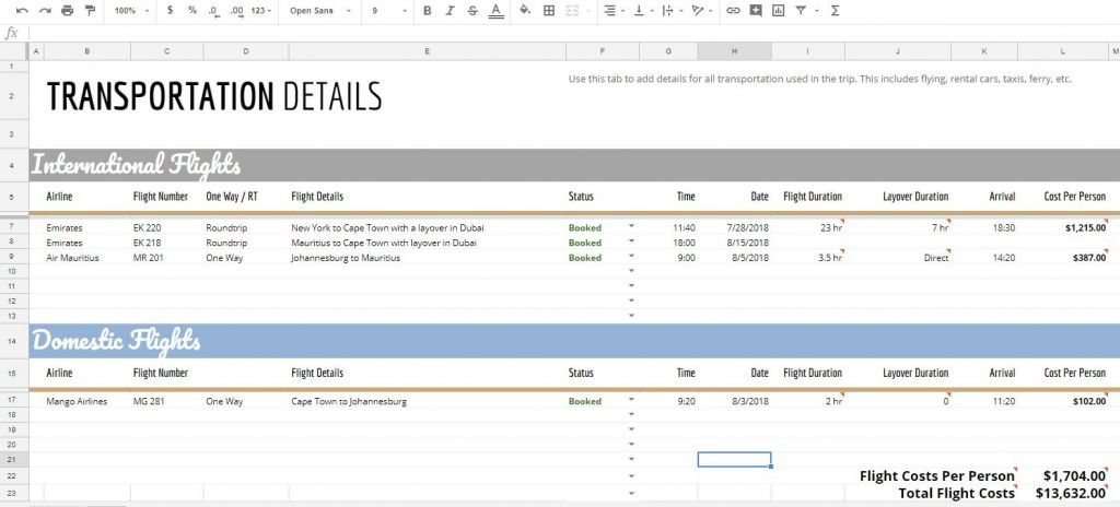 The Ultimate Travel And Vacation Itinerary Planning Spreadsheet Johnny Africa