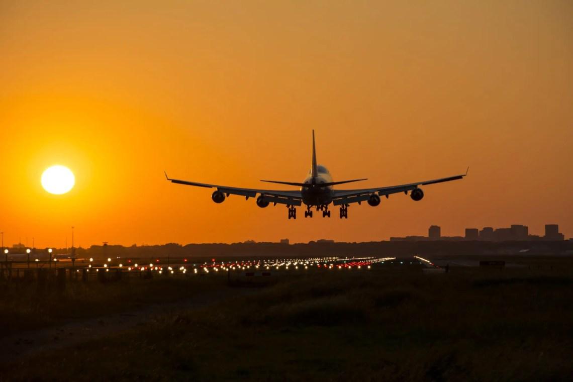 Airplane Sunset landing