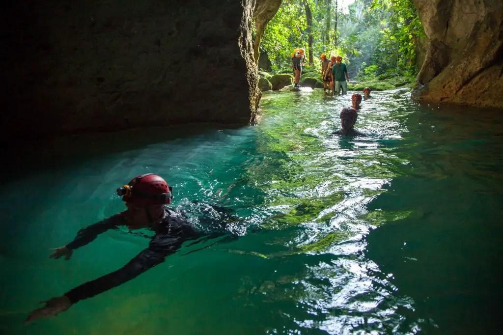 Cave hike actun tunichil muknal swimming