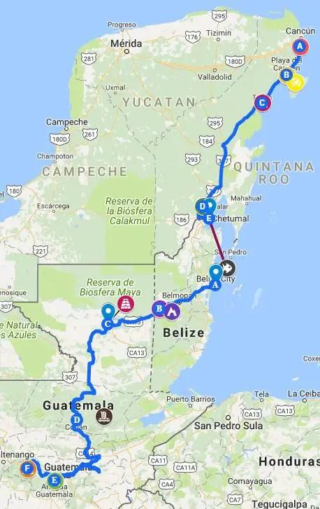 Mexico Belize guatemala Travel Itinerary