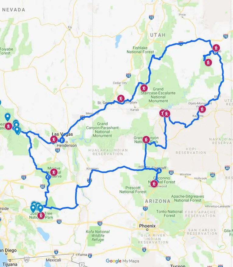 southwest itinerary google maps