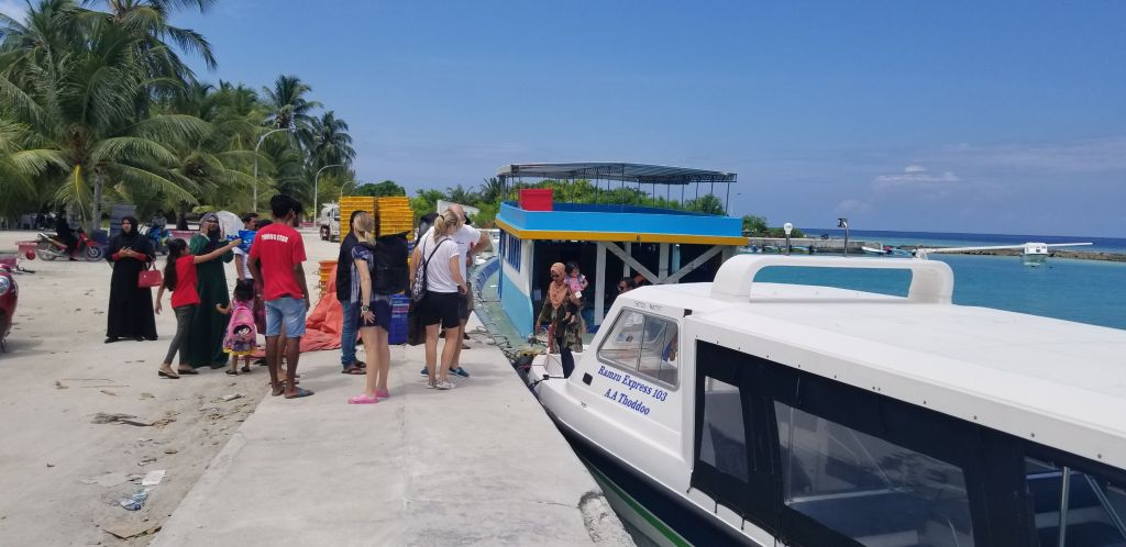 Speedboat and local ferries in the Maldives