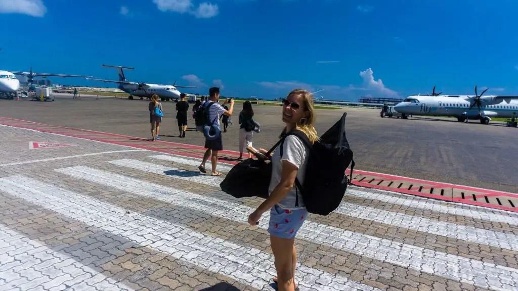 male airport runway walking