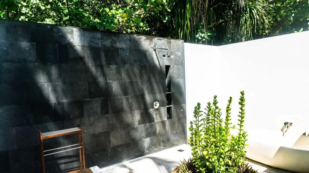 Outdoor shower at the Park Hyatt Hadahaa