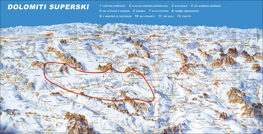 Dolomites Superski Map of all mountains