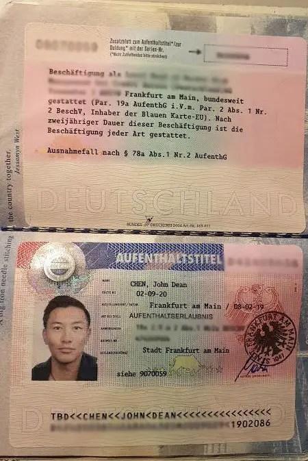 EU Blue Card passport stamp Germany visa