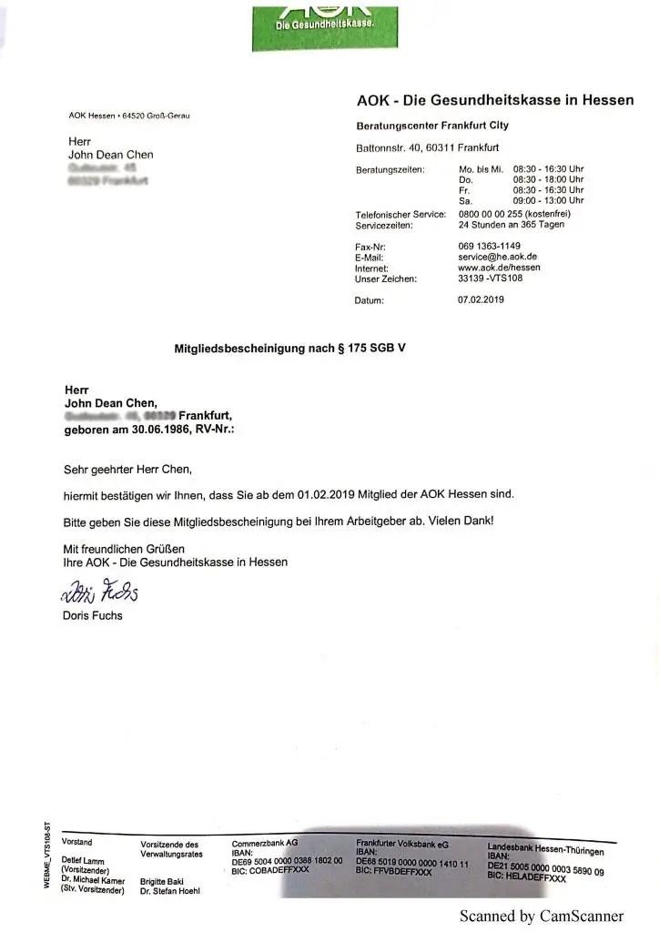 Enrollment letter in German Medical Insurance with AOK