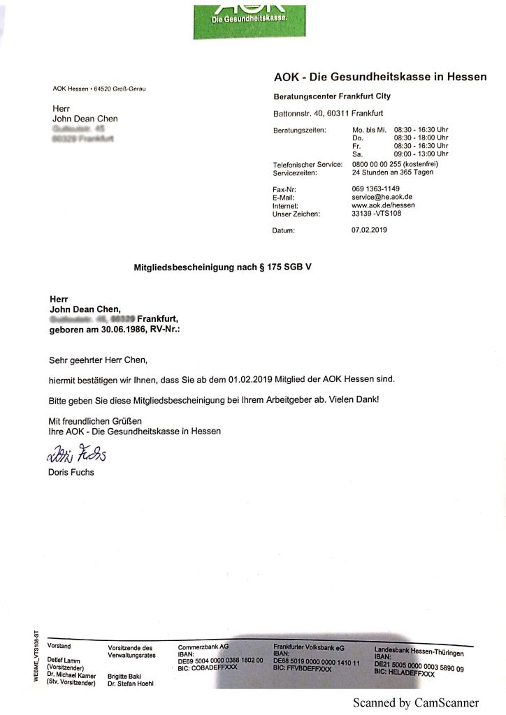 Enrollment letter in German Medical Insurance with AOK