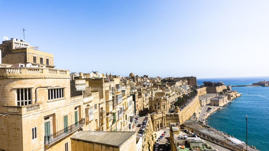 View of the Valletta skyline from the gardens