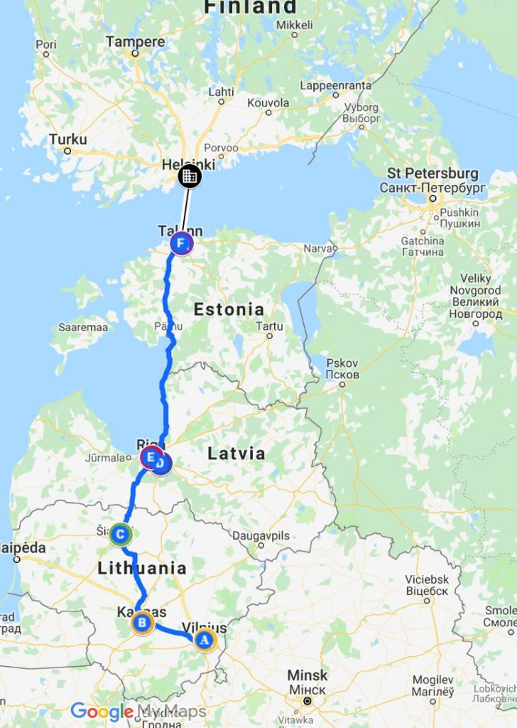 Baltics Travel Itinerary map
