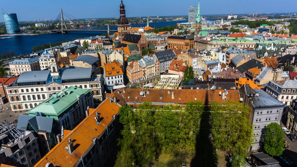Aerial shot of Riga, Latvia