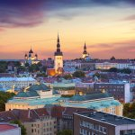 Tallinn views of the city at sunset