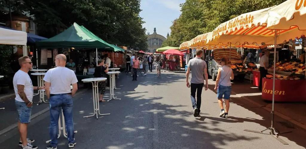 The Bahnhofsviertel market on Tuesdays and Thursdays Frankfurt Germany
