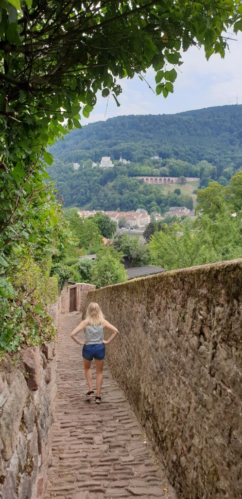 The hiking trail for the Philosopher's walk in Heidelberg Germany