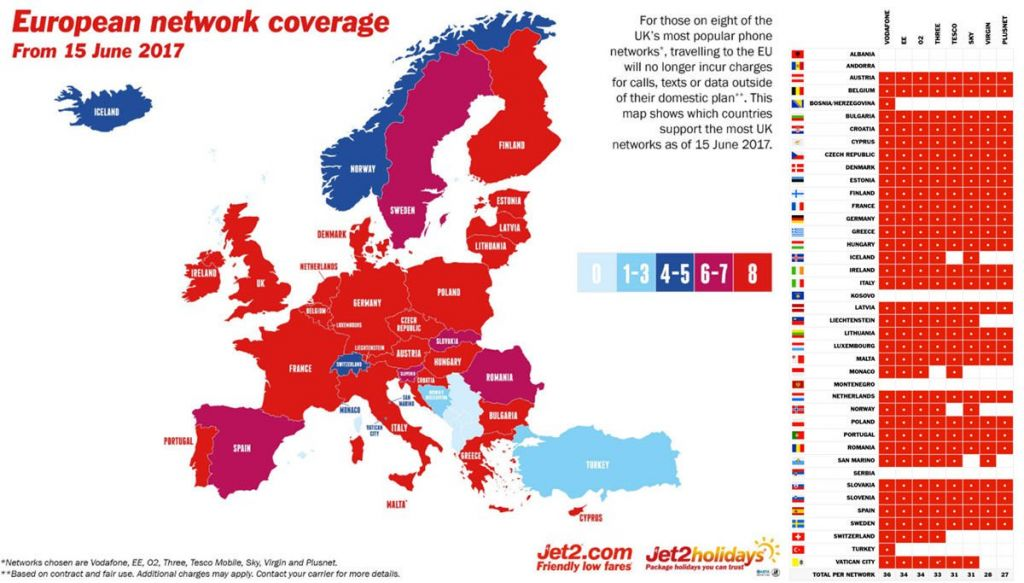 EU Roaming Map