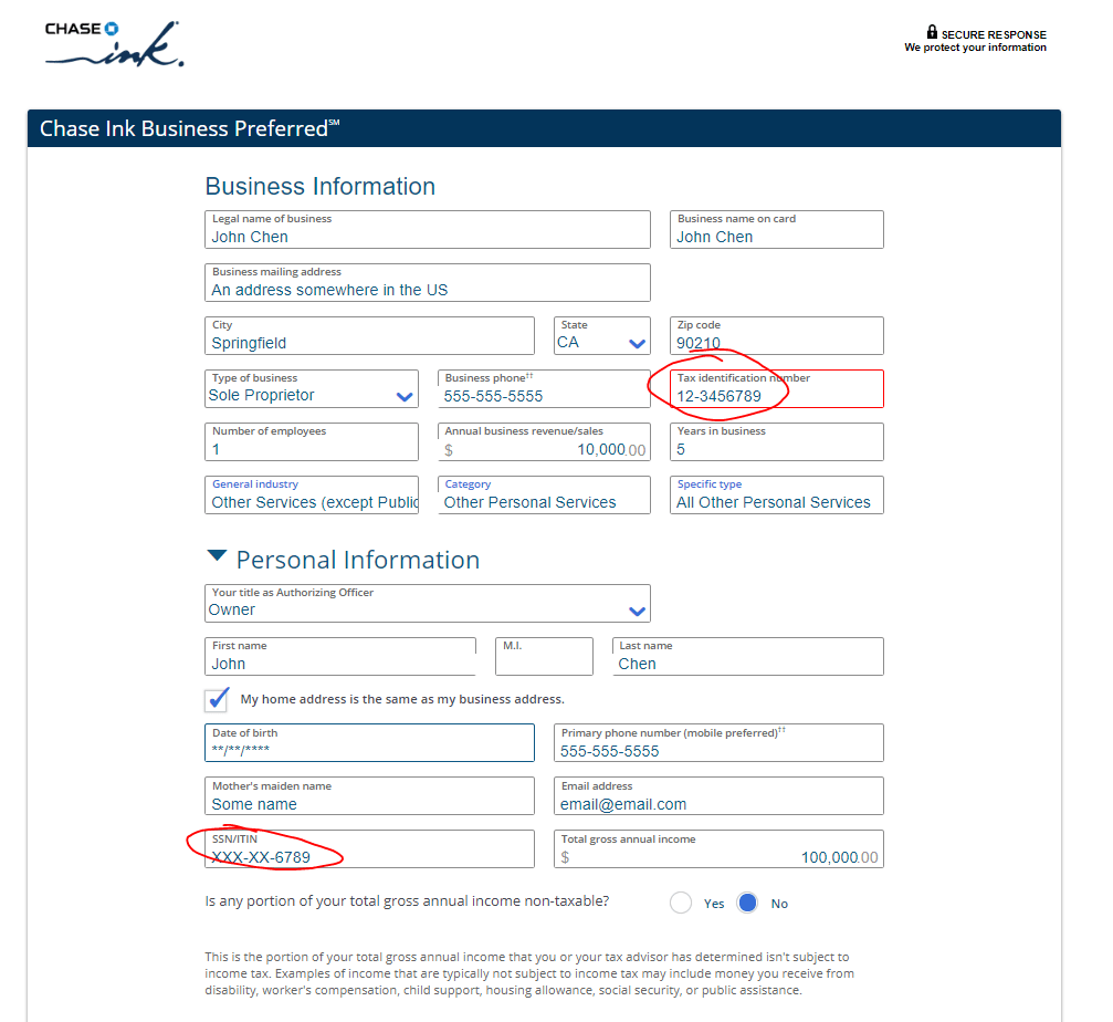 how to fill out chase ink application