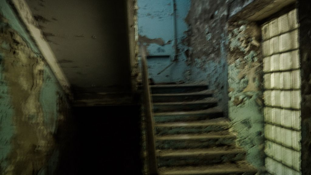Sorry for the blurry photo but these are the stairs down to the basement where the firefighters' clothes still rest
