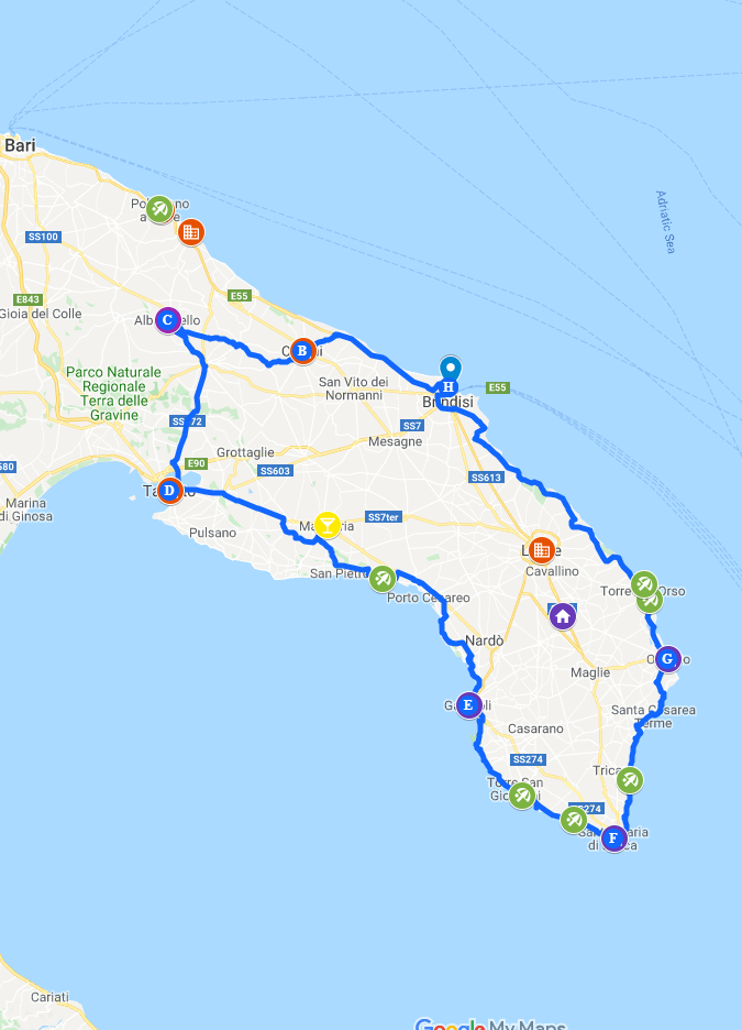 Puglia Road trip itinerary google maps