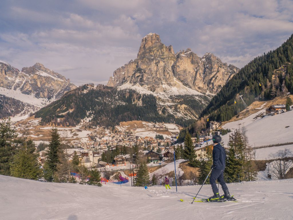 Looking at Corvara and the Sassongher Mountain Dolomites Italy