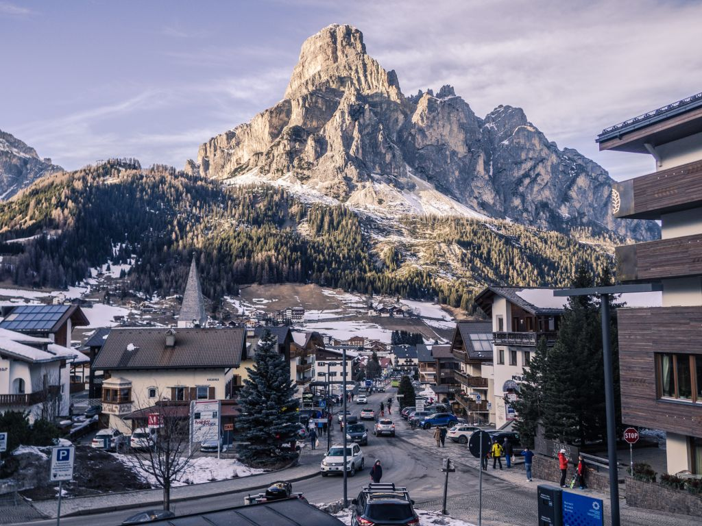Corvara town sassongher mountains dolomites