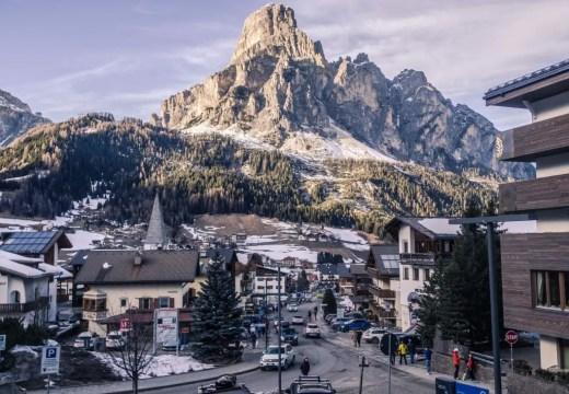 Corvara town sassongher mountains dolomites