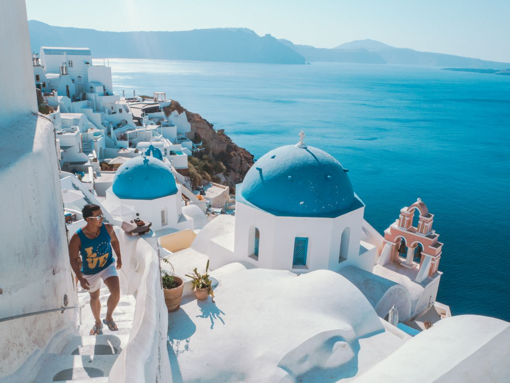 santorini blue domes greece