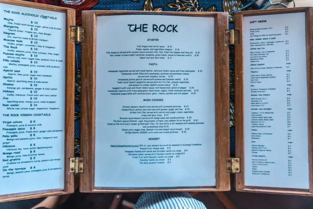 The Rock Restaurant menu