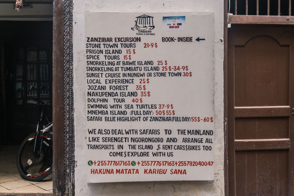 Prices of tours Zanzibar