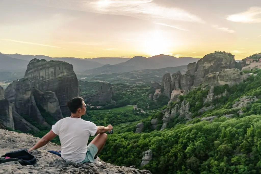 Sunset rock in Meteora Greece