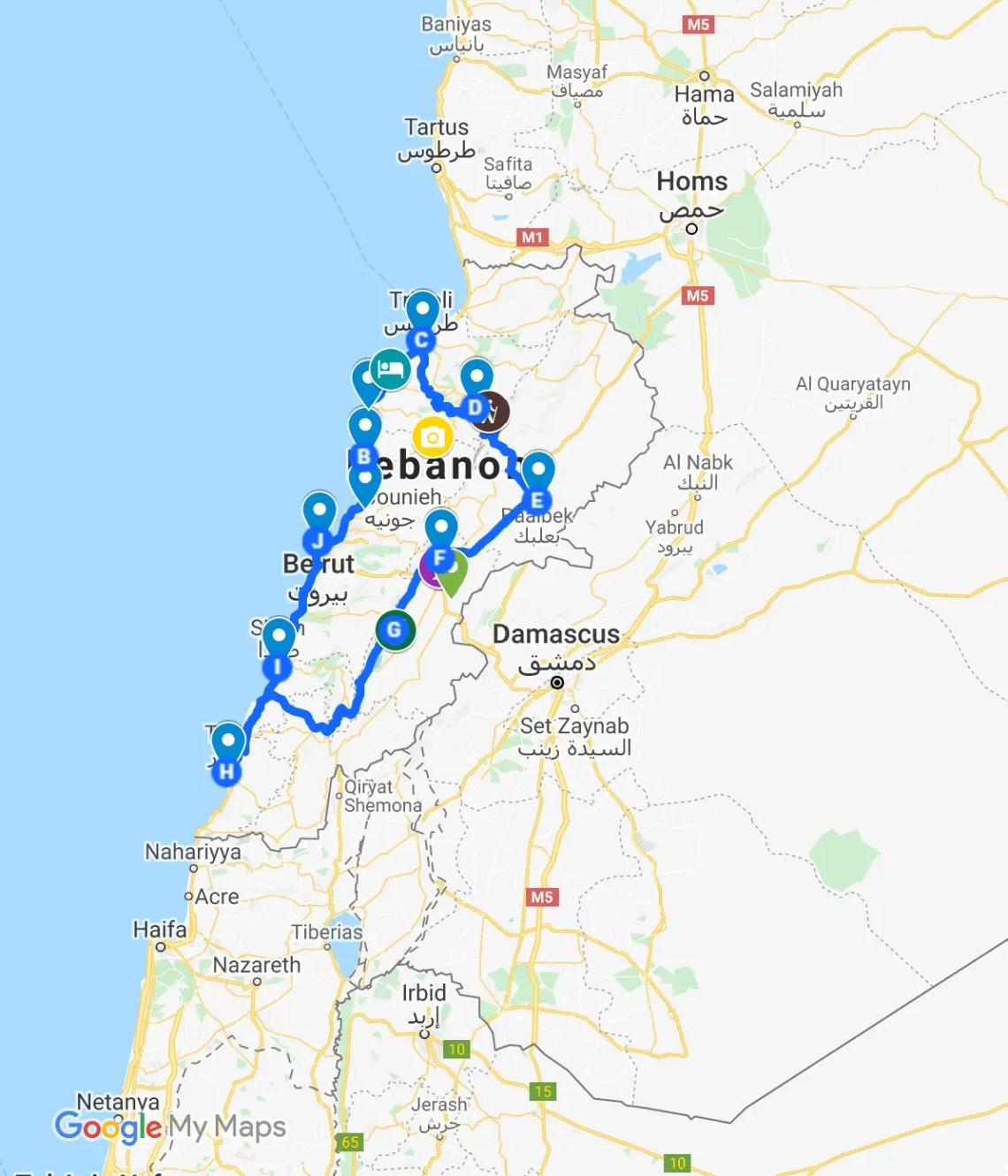 Lebanon Travel itinerary map