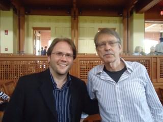 Jesse Jones and John Harbison after a performance of Jesse's Snippet Variations