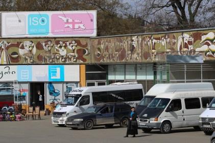 Sovjetisk mosaik i en liten stad i östra Georgien