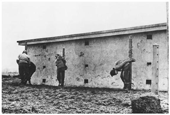 A U.S. Army medic examines the bodies of 3 German spies shot by firing squad in Herbesthal, Belgium, December 1944 (Bettmann-Corbis)