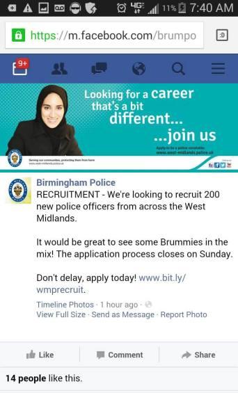 birmingham police want muslim-ettes