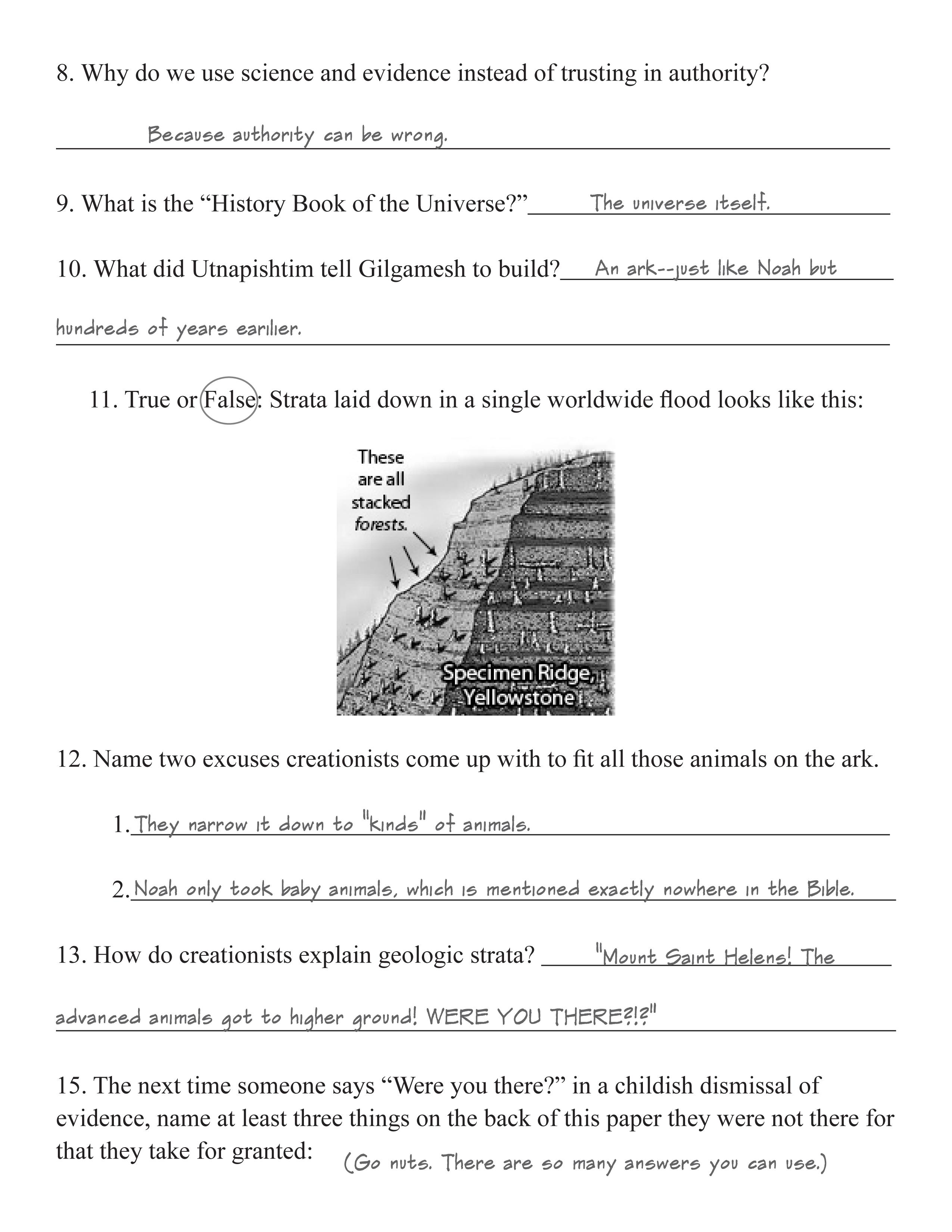Creation Science Counter Quiz