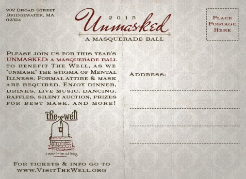 Unmasked Fundraiser Branding / Invitation (back)