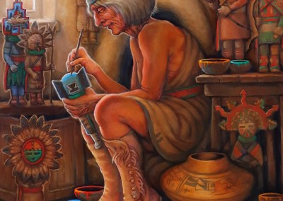 "Hopi Carver, 30"" x 24"", Oil Painting"