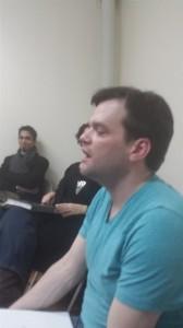 Rehearsal w/ friend of the show, Wilson Jermaine Heredia watching