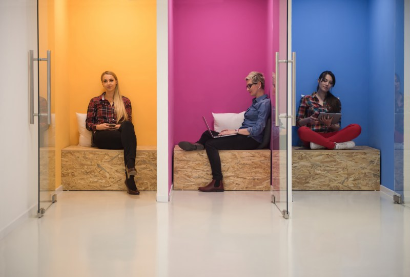 group of business people in creative working  space