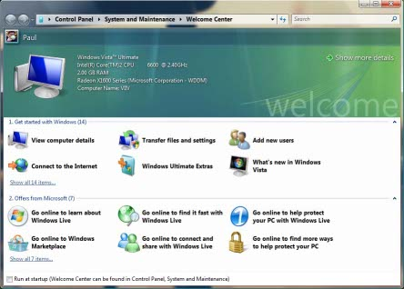 Windows Vista Welcome Center - A useful portal to your computer or just a pain the the backside?