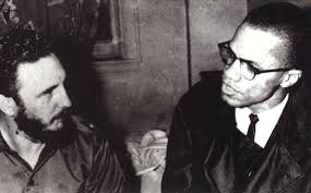 Malcolm X (1925-65) with Fidel Castro in Harlem, 1961.
